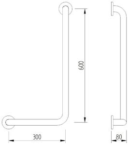 Skizze - Winkelgriff 90°, Ausführung rechts, 600 x 300 mm - Serie Concept Pro von Lehnen