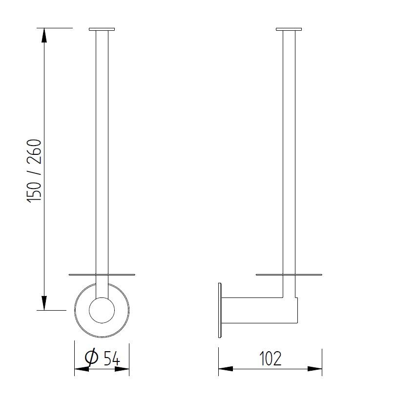 Skizze - Reserverollenhalter für eine oder zwei Rollen - Serie Funktion von Lehnen